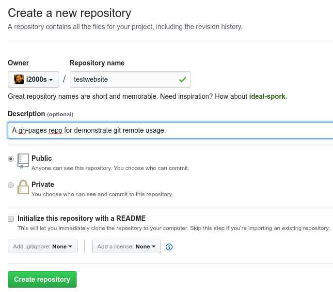 Creating a Repository on GitHub (Step 2)