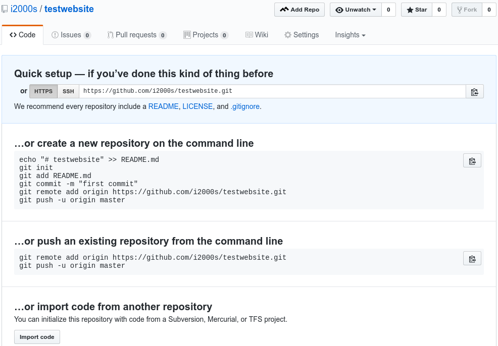 Creating a Repository on GitHub (Step 3)