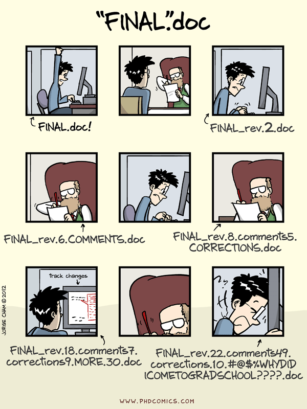 Fig 1. An XKCD comedy of a paper writing scenario with a professor who doesn't use Git.